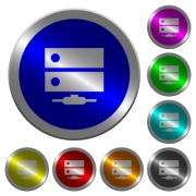Network drive icons on round luminous coin-like color steel buttons - Network drive luminous coin-like round color buttons