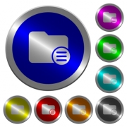 Directory options icons on round luminous coin-like color steel buttons - Directory options luminous coin-like round color buttons