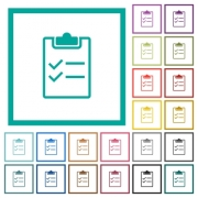 Checklist flat color icons with quadrant frames on white background - Checklist flat color icons with quadrant frames