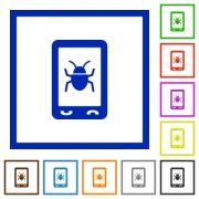 Malicious mobile software flat color icons in square frames on white background - Malicious mobile software flat framed icons