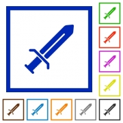 Sword flat color icons in square frames on white background