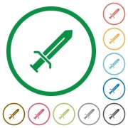 Sword flat color icons in round outlines on white background - Sword flat icons with outlines