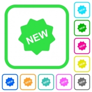 New badge vivid colored flat icons in curved borders on white background