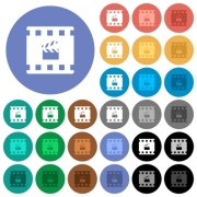 Movie production multi colored flat icons on round backgrounds. Included white, light and dark icon variations for hover and active status effects, and bonus shades on black backgounds. - Movie production round flat multi colored icons