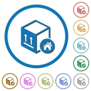 Package warehouse flat color vector icons with shadows in round outlines on white background - Package warehouse icons with shadows and outlines