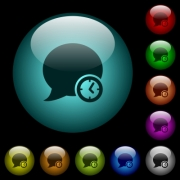 Blog comment time icons in color illuminated spherical glass buttons on black background. Can be used to black or dark templates - Blog comment time icons in color illuminated glass buttons