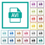 AVI file format flat color icons with quadrant frames on white background