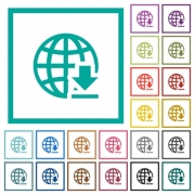 Download from internet flat color icons with quadrant frames on white background - Download from internet flat color icons with quadrant frames