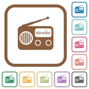Vintage retro radio simple icons in color rounded square frames on white background - Vintage retro radio simple icons