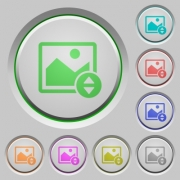 Vertically move image color icons on sunk push buttons - Vertically move image push buttons
