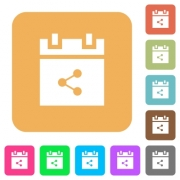Share schedule item flat icons on rounded square vivid color backgrounds. - Share schedule item rounded square flat icons