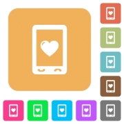 Favorite mobile content flat icons on rounded square vivid color backgrounds.
