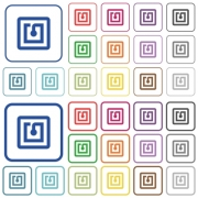 NFC sticker color flat icons in rounded square frames. Thin and thick versions included. - NFC sticker outlined flat color icons