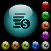 Dollar coins icons in color illuminated spherical glass buttons on black background. Can be used to black or dark templates - Dollar coins icons in color illuminated glass buttons