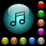Music note icons in color illuminated spherical glass buttons on black background. Can be used to black or dark templates - Music note icons in color illuminated glass buttons