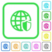 Internet security vivid colored flat icons in curved borders on white background - Internet security vivid colored flat icons