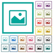 Single picture flat color icons with quadrant frames on white background - Single picture flat color icons with quadrant frames