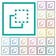 Bring element to front flat color icons with quadrant frames on white background - Bring element to front flat color icons with quadrant frames