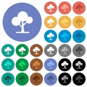 Leafy tree multi colored flat icons on round backgrounds. Included white, light and dark icon variations for hover and active status effects, and bonus shades on black backgounds. - Leafy tree round flat multi colored icons