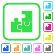 Puzzles vivid colored flat icons in curved borders on white background - Puzzles vivid colored flat icons