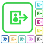 User logout vivid colored flat icons in curved borders on white background - User logout vivid colored flat icons