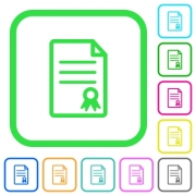 Certificate document vivid colored flat icons in curved borders on white background - Certificate document vivid colored flat icons