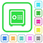 Strong box with key code vivid colored flat icons in curved borders on white background - Strong box with key code vivid colored flat icons