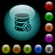 Disabled database icons in color illuminated spherical glass buttons on black background. Can be used to black or dark templates - Disabled database icons in color illuminated glass buttons