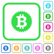 Bitcoin sticker vivid colored flat icons in curved borders on white background - Bitcoin sticker vivid colored flat icons