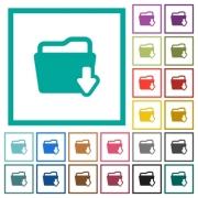 Download folder flat color icons with quadrant frames on white background - Download folder flat color icons with quadrant frames