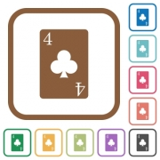 four of clubs card simple icons in color rounded square frames on white background - four of clubs card simple icons