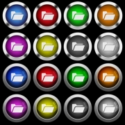Folder open white icons in round glossy buttons with steel frames on black background. The buttons are in two different styles and eight colors. - Folder open white icons in round glossy buttons on black background