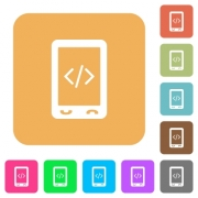 Mobile scripting flat icons on rounded square vivid color backgrounds. - Mobile scripting rounded square flat icons