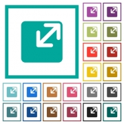 Resize window flat color icons with quadrant frames on white background - Resize window flat color icons with quadrant frames
