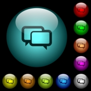 Chat bubbles icons in color illuminated spherical glass buttons on black background. Can be used to black or dark templates - Chat bubbles icons in color illuminated glass buttons