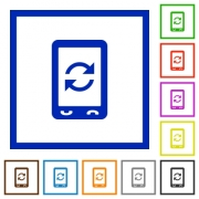 Mobile syncronize flat color icons in square frames on white background - Mobile syncronize flat framed icons