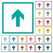 Up arrow flat color icons with quadrant frames on white background - Up arrow flat color icons with quadrant frames
