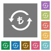Turkish Lira pay back flat icons on simple color square backgrounds - Turkish Lira pay back square flat icons