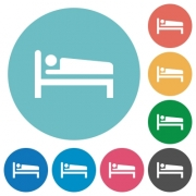 Sleeping man flat white icons on round color backgrounds - Sleeping man flat round icons