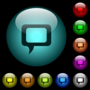 Empty comment bubble icons in color illuminated spherical glass buttons on black background. Can be used to black or dark templates - Empty comment bubble icons in color illuminated glass buttons
