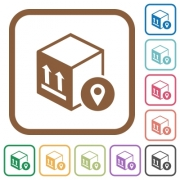 Package tracking simple icons in color rounded square frames on white background - Package tracking simple icons