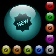 New badge icons in color illuminated spherical glass buttons on black background. Can be used to black or dark templates - New badge icons in color illuminated glass buttons