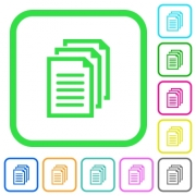 Multiple documents vivid colored flat icons in curved borders on white background - Multiple documents vivid colored flat icons