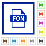 FON file format flat color icons in square frames on white background - FON file format flat framed icons