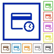 Credit card transaction history flat color icons in square frames on white background - Credit card transaction history flat framed icons