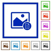 Image properties flat color icons in square frames on white background - Image properties flat framed icons