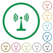 Wlan network flat color icons in round outlines on white background - Wlan network flat icons with outlines