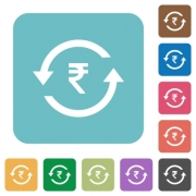 Rupee pay back white flat icons on color rounded square backgrounds