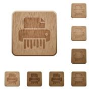 Office shredder on rounded square carved wooden button styles - Office shredder wooden buttons