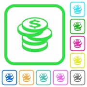 Stack of Dollar coins vivid colored flat icons in curved borders on white background - Stack of Dollar coins vivid colored flat icons